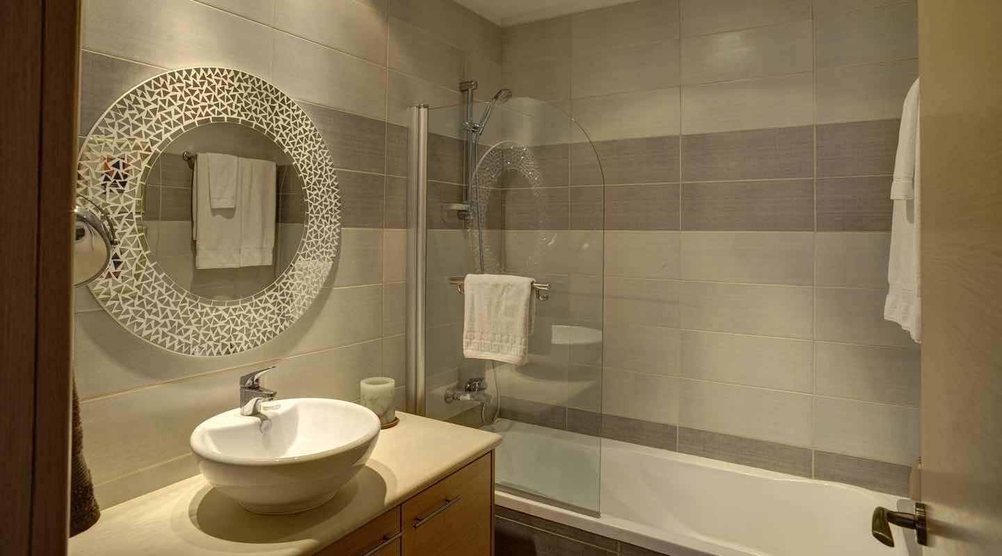 Bathroom of three bedroom apartment at Paphos Aphrodite Sands Resort