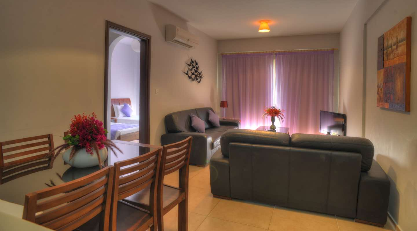 Living Room of three bedroom apartment at Paphos Aphrodite Sands Resort