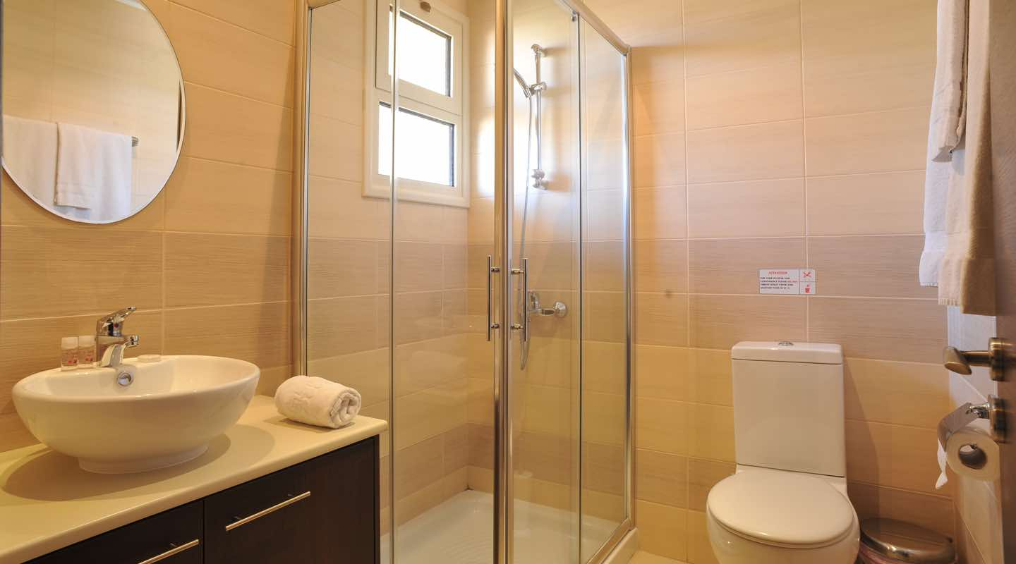 Bathroom of two bedroom apartment at Paphos Aphrodite Sands Resort