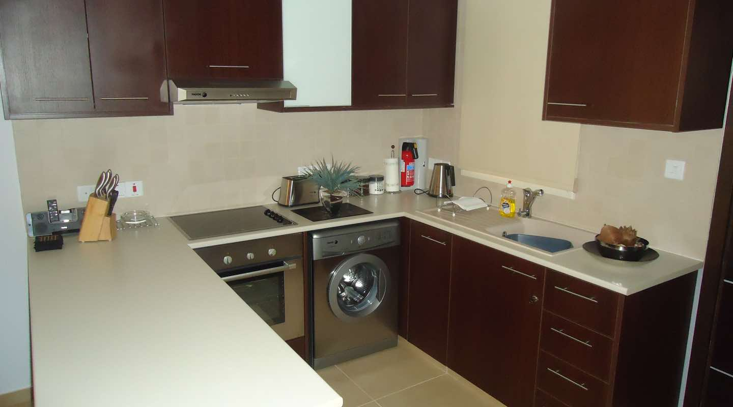 Kitchen of two bedroom apartment at Paphos Aphrodite Sands Resort