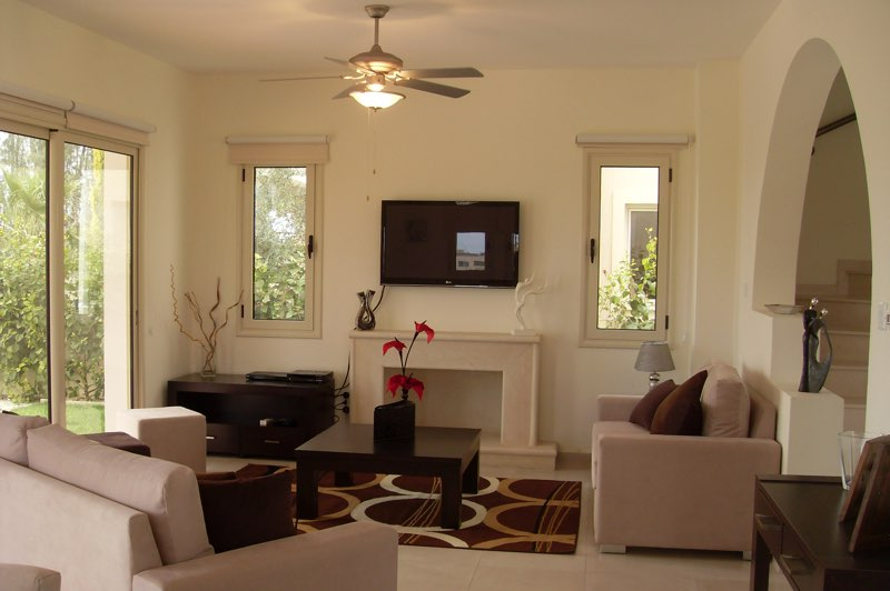 Paphos three bedroom villa holiday rental living room in Aphrodite Sands Resort