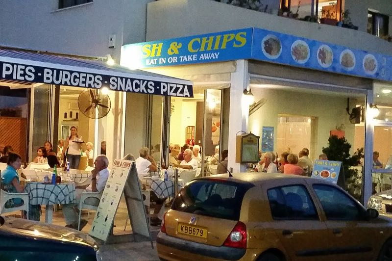 Fish and chips restaurant at Mandria village in Paphos
