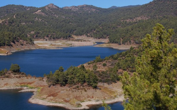 Lakes and forest at Troodos Mountains